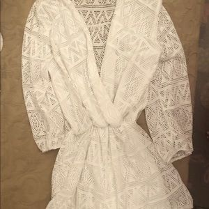 Other - White lace swimsuit cover up short romper